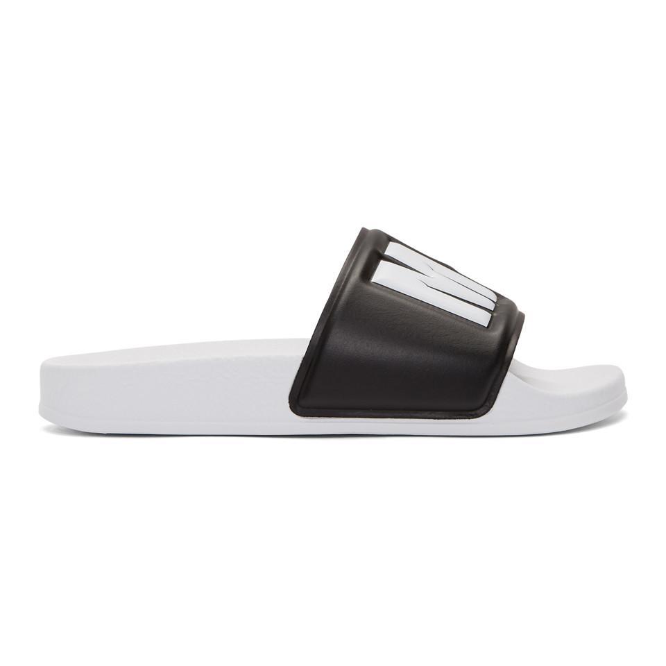 6715b1ab7fbed MSGM Black And White Logo Pool Slides in Black - Lyst