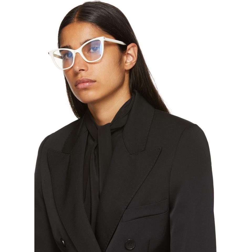 e9f3bb51a Saint Laurent White Sl 219 Cat Eye Glasses in White - Lyst