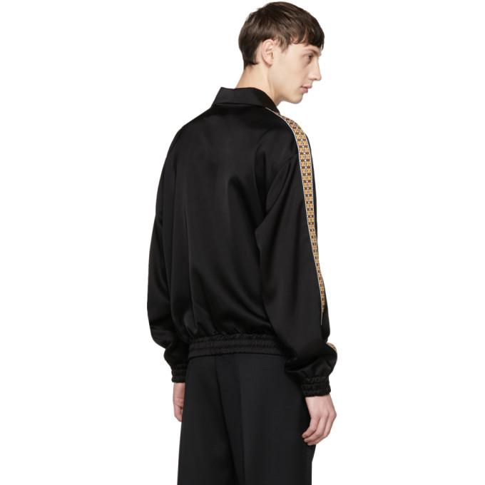 Cmmn Swdn Satin Black Bret Track Jacket for Men