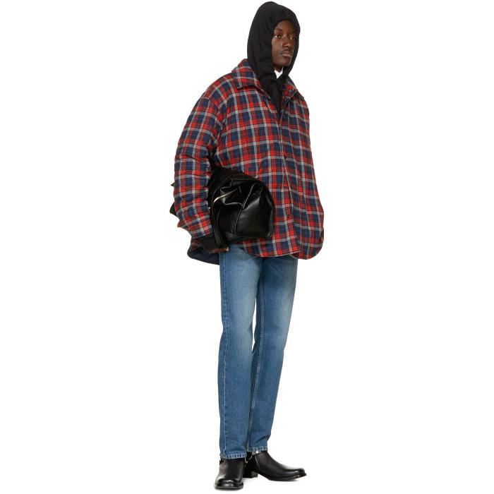 Lyst Balenciaga Red Oversized Flannel Shirt In Red For Men