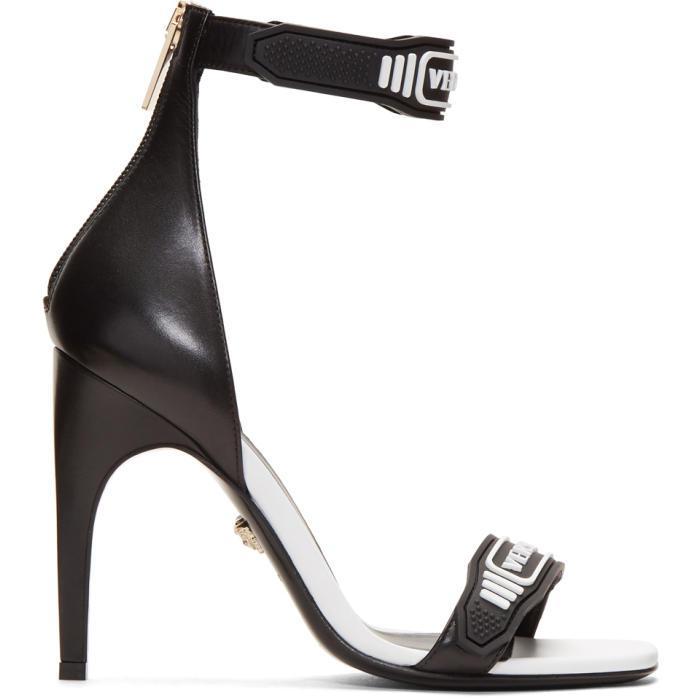 Versace Leather Black Amp White Logo Strap Sandals Lyst