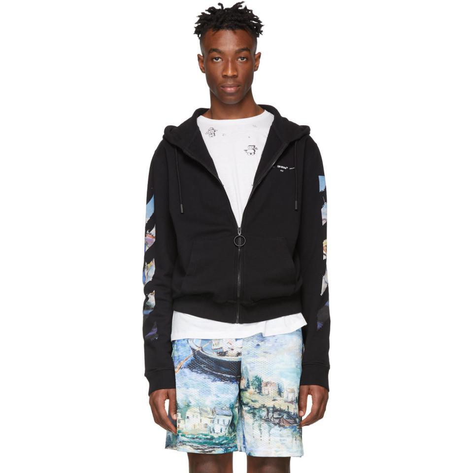 d29cc4bde5f5 Off-White c o Virgil Abloh Black Diag Arrows Zip Hoodie in Black for ...