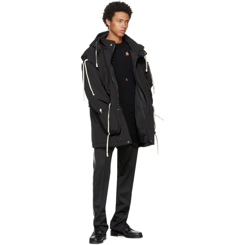 Maison Margiela Cotton Black Rope Drawstring Hooded Jacket for Men