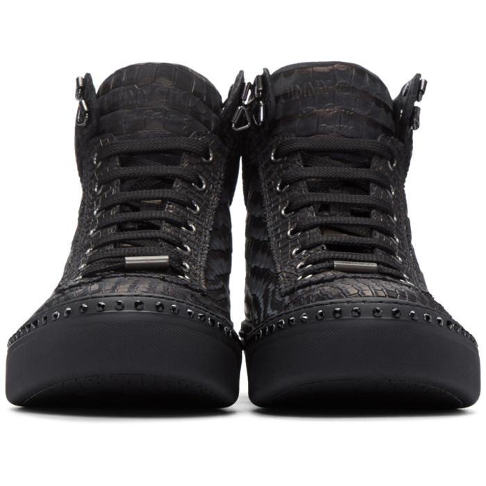 76d1d043cad2 Lyst - Jimmy Choo Gunmetal Croc-embossed Argyle High-top Sneakers ...