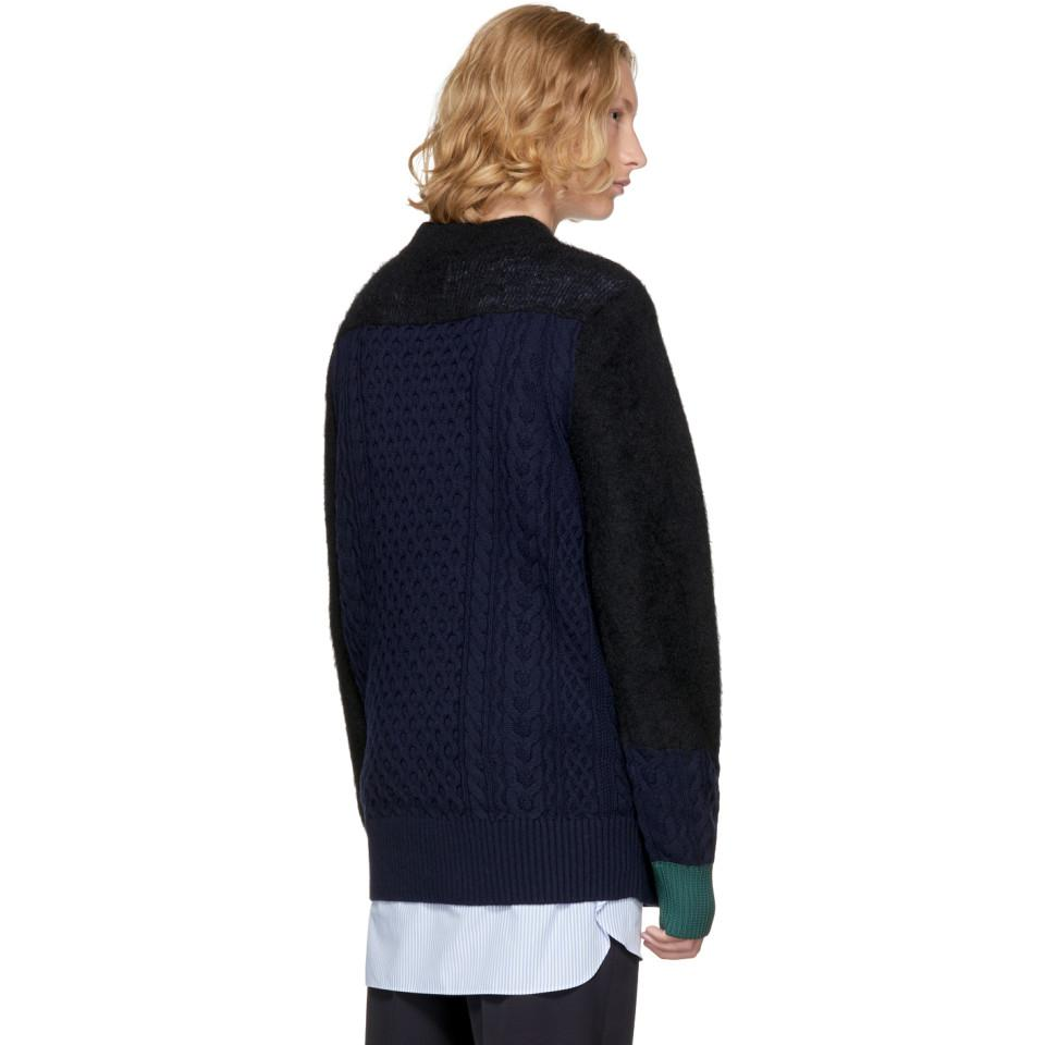 Sacai Wool Navy Cable Knit Sweater in Blue for Men
