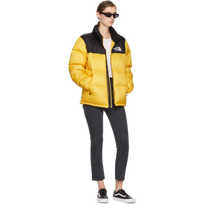 0b402b4055 ... uk the north face yellow black down novelty nuptse jacket in yellow  f55f2 30c27 ...