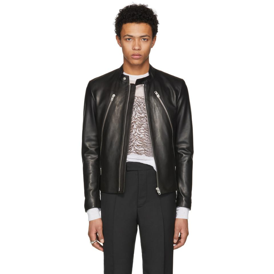 7efbd6c03 Maison Margiela Black Leather Classic Five-zip Jacket for men