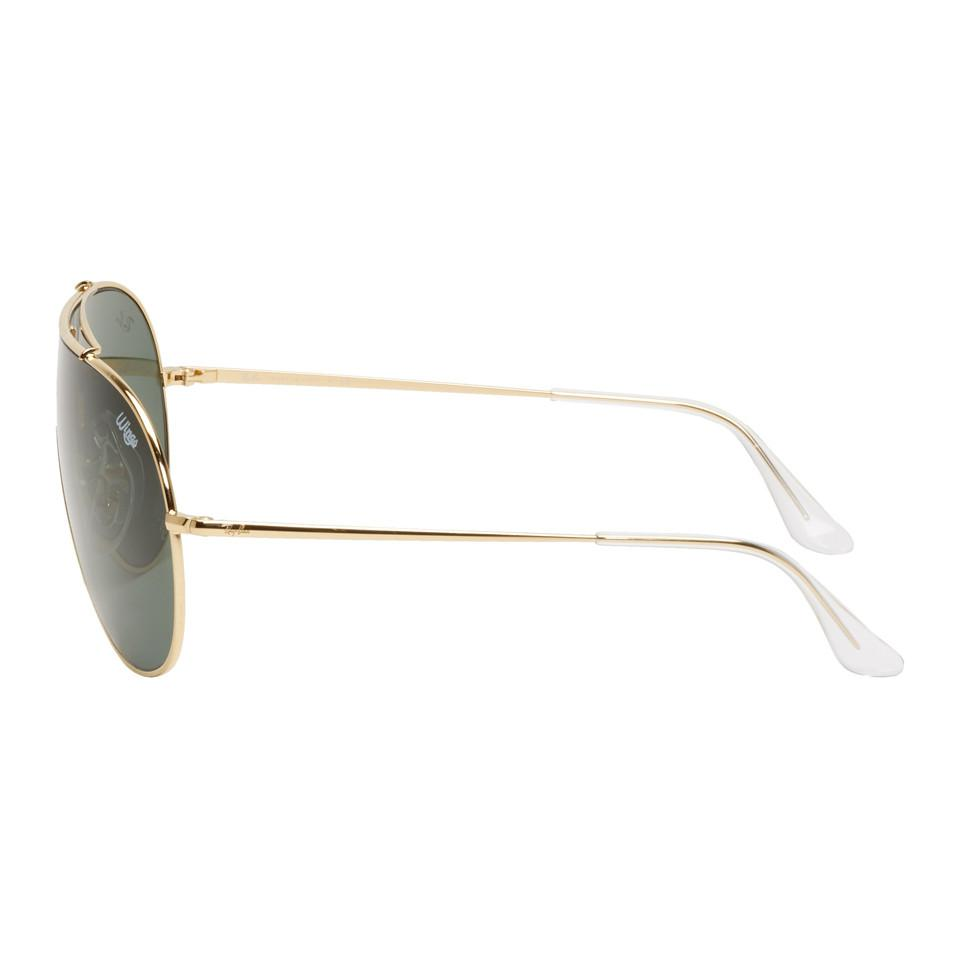 Ray-Ban Gold And Green Pilot Wings Sunglasses in Metallic for Men