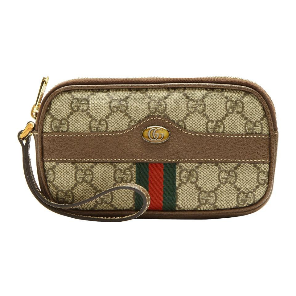 52cda509944 Gucci Brown Gg Supreme Ophidia Iphone Pouch in Brown - Lyst