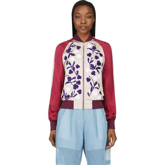0d0606cec7d2d Lyst - Jonathan Saunders Blush Floral Embroidery Cecily Bomber Jacket