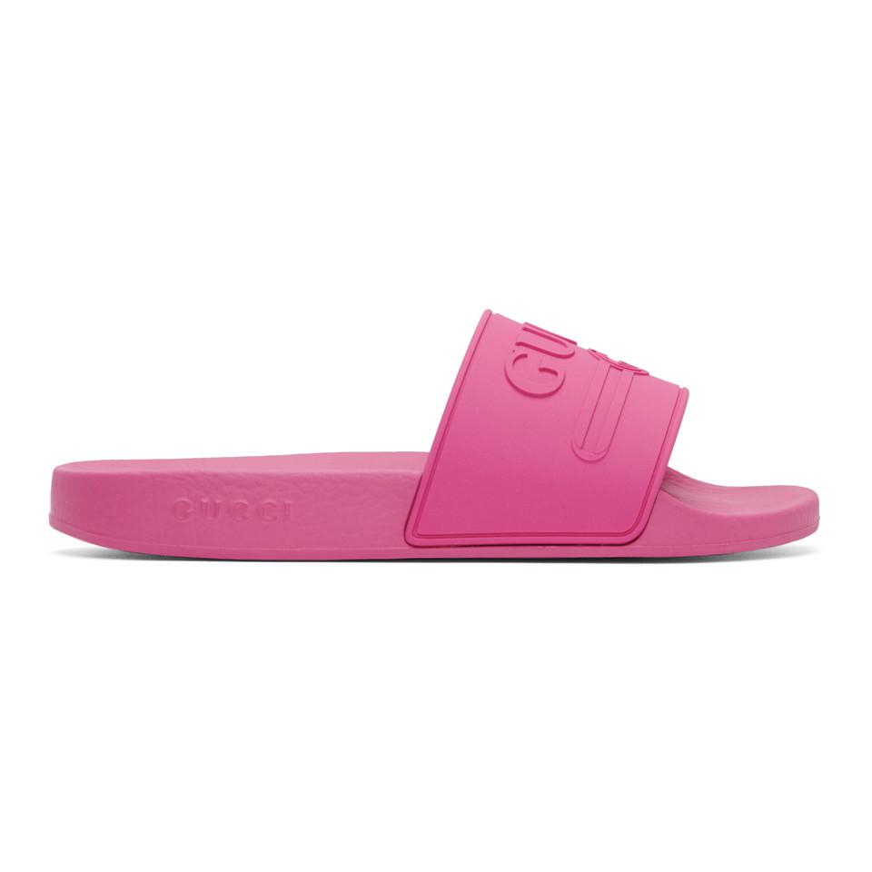 e499ff7d6a3 Lyst - Gucci Slides With Logo in Pink for Men - Save 38%