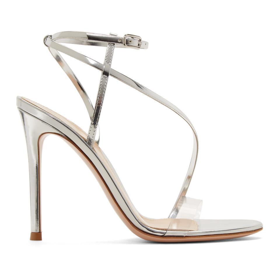 4266d90679d Gianvito Rossi. Women s Silver Patent Plexi Band Sandals