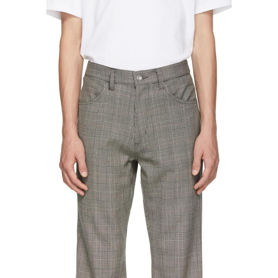 Christian Dada Wool Grey Glen Plaid Flared Trousers in Grey for Men