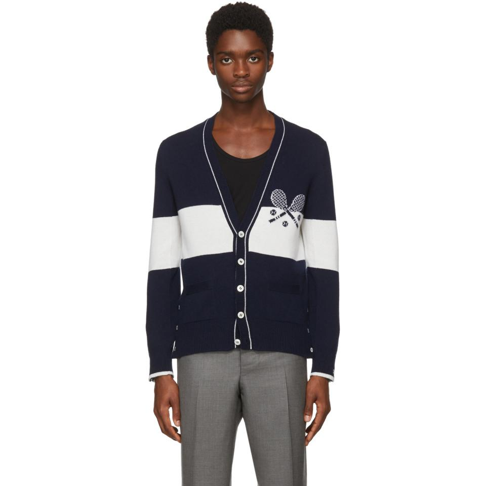 Big Sale Cheap Online Wholesale Price For Sale Navy Striped Tennis Cardigan Thom Browne SwAFhn
