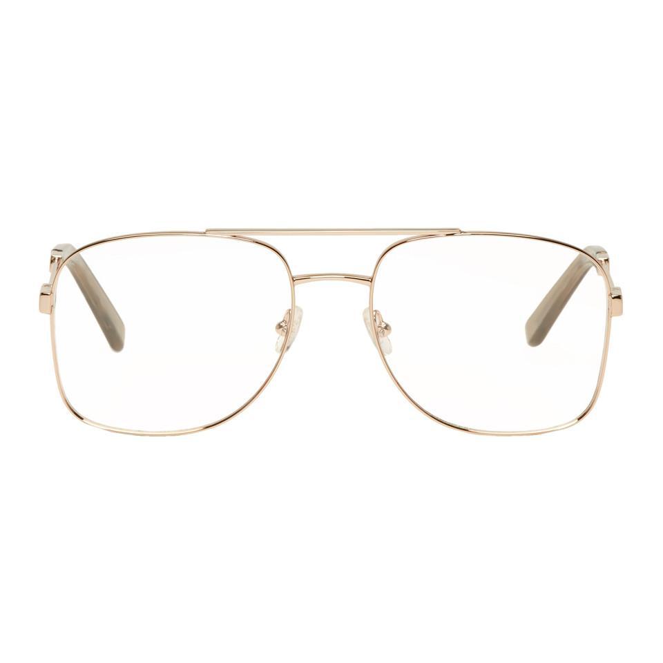 db6fbdf3e8a Chloé Rose Gold Aviator Glasses - Lyst