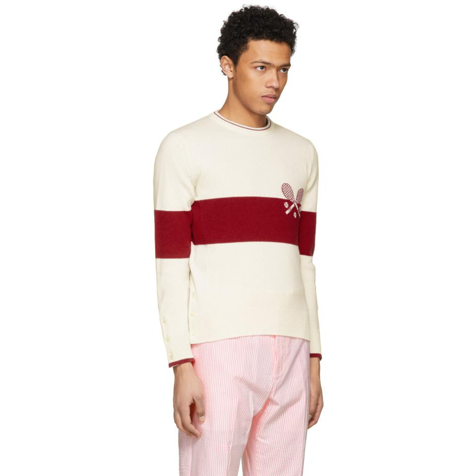 Thom Browne Cashmere Red And White Tennis Knit Sweater for Men