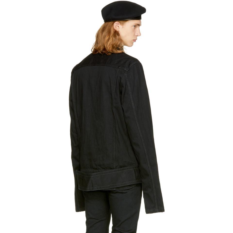 Miharayasuhiro Black Denim Big Belt Jacket for Men