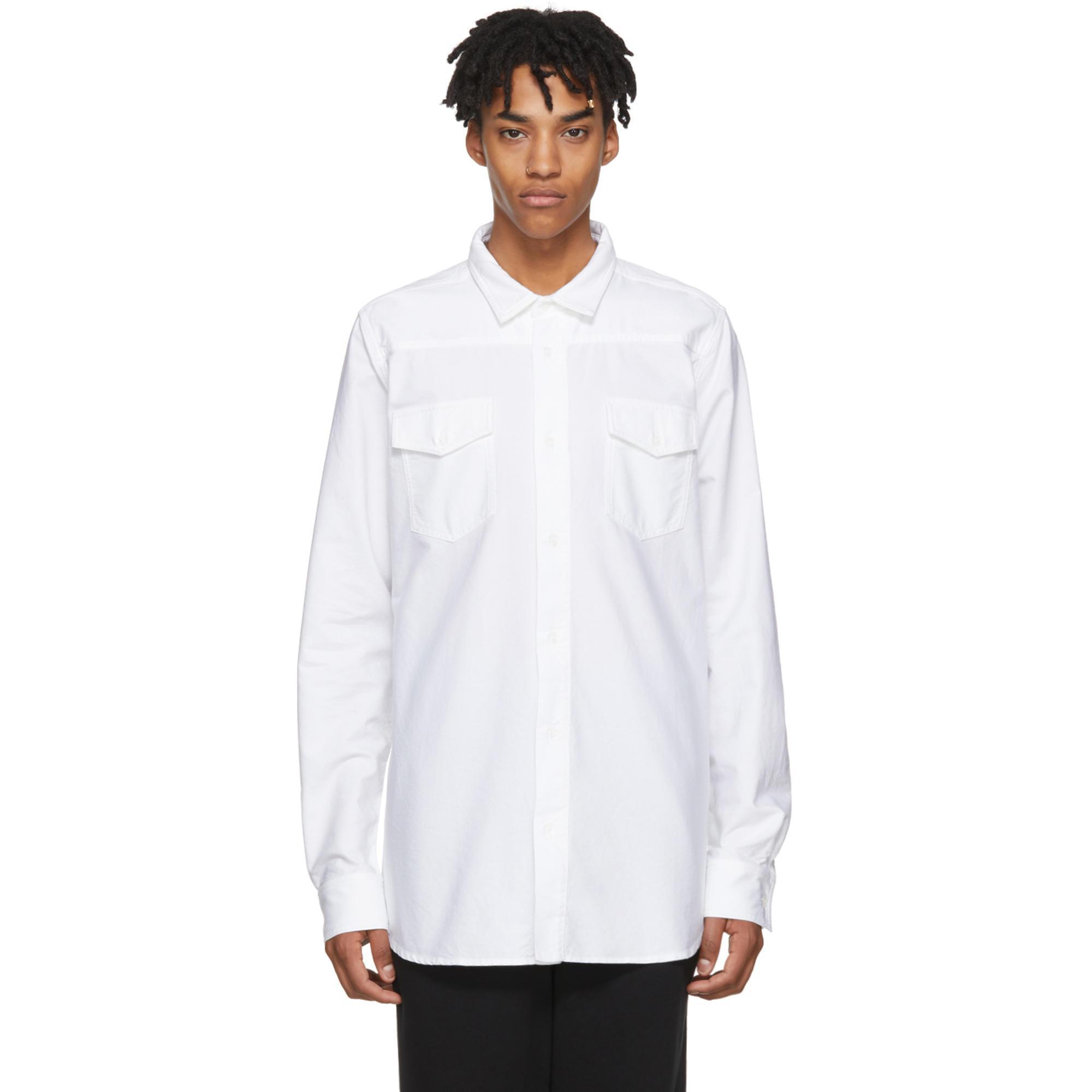 lyst off white c o virgil abloh white firetape shirt in white for men. Black Bedroom Furniture Sets. Home Design Ideas