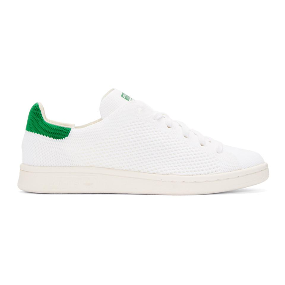 Lyst - Adidas Originals White   Green Stan Smith Og Pk Sneakers in White 80ff973a9