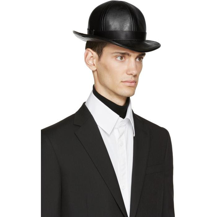 84be9908a20204 KTZ Black Faux-leather Short Bowler Hat in Black for Men - Lyst