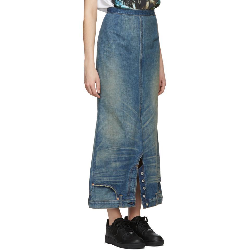 1dcf19ffe9 Junya Watanabe - Blue Indigo Denim Upside Down Skirt - Lyst. View fullscreen