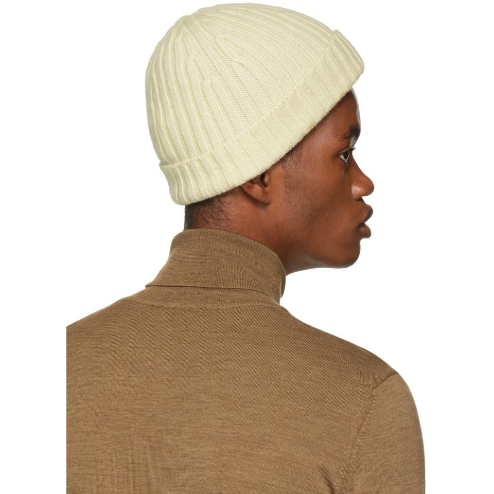 Lyst - Boss Ivory Cashmere Eraffaelo Beanie in White for Men 2f9f1a8828a4
