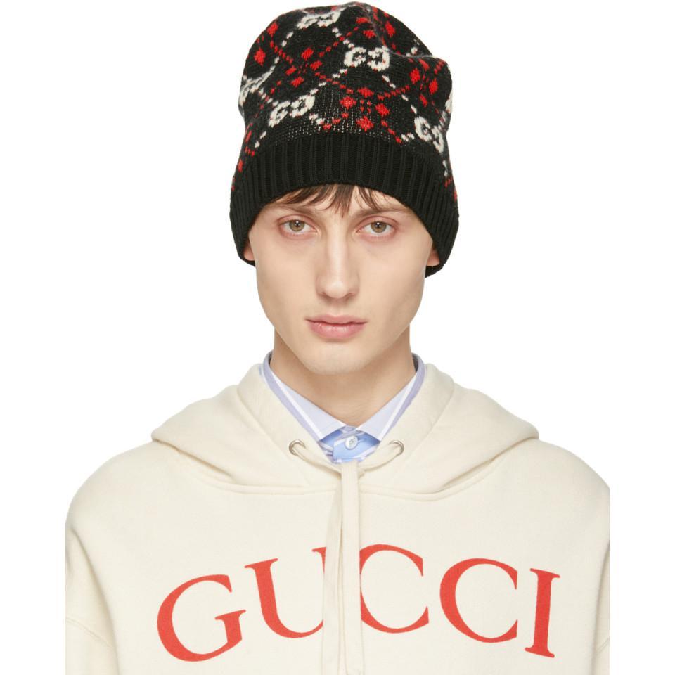 Gucci - Black GG Supreme Diamond Beanie for Men - Lyst. View fullscreen 0d6a21e6b8f2