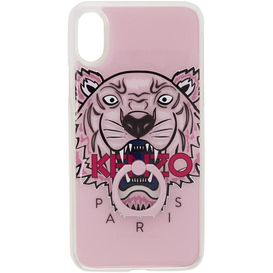 kenzo pink Etui pour iPhone X rose 3D Tiger