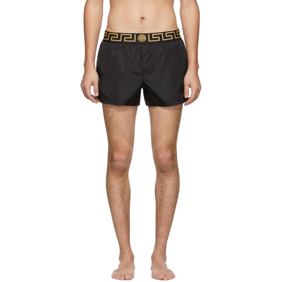 66cc6cc819962 Versace Black Greca Border Swim Shorts in Black for Men - Lyst