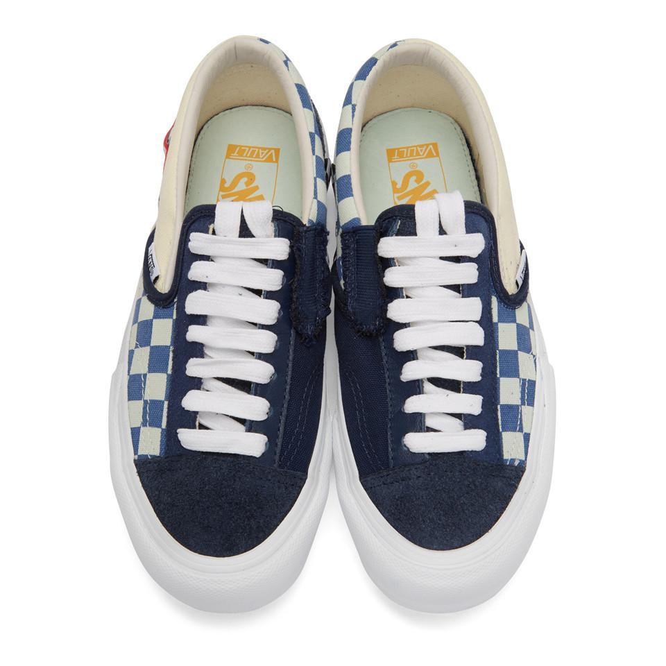 Lyst - Vans Navy Cap Lx Slip-on Sneakers in Blue for Men 44addbf2f