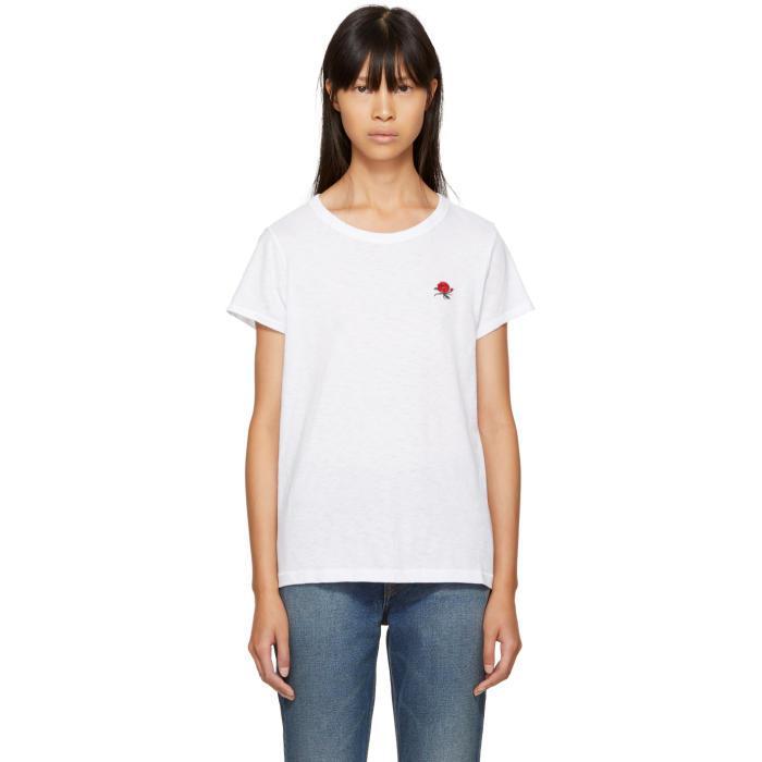 Lyst rag bone white rose t shirt in white for Rag and bone white t shirt