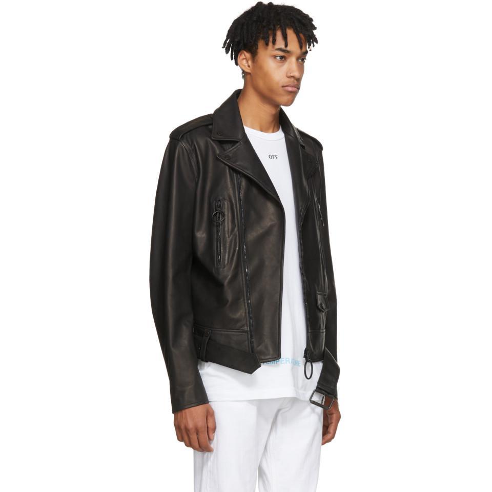 f8113984e3d5 Off-White c o Virgil Abloh Black Leather Firetape Biker Jacket in ...
