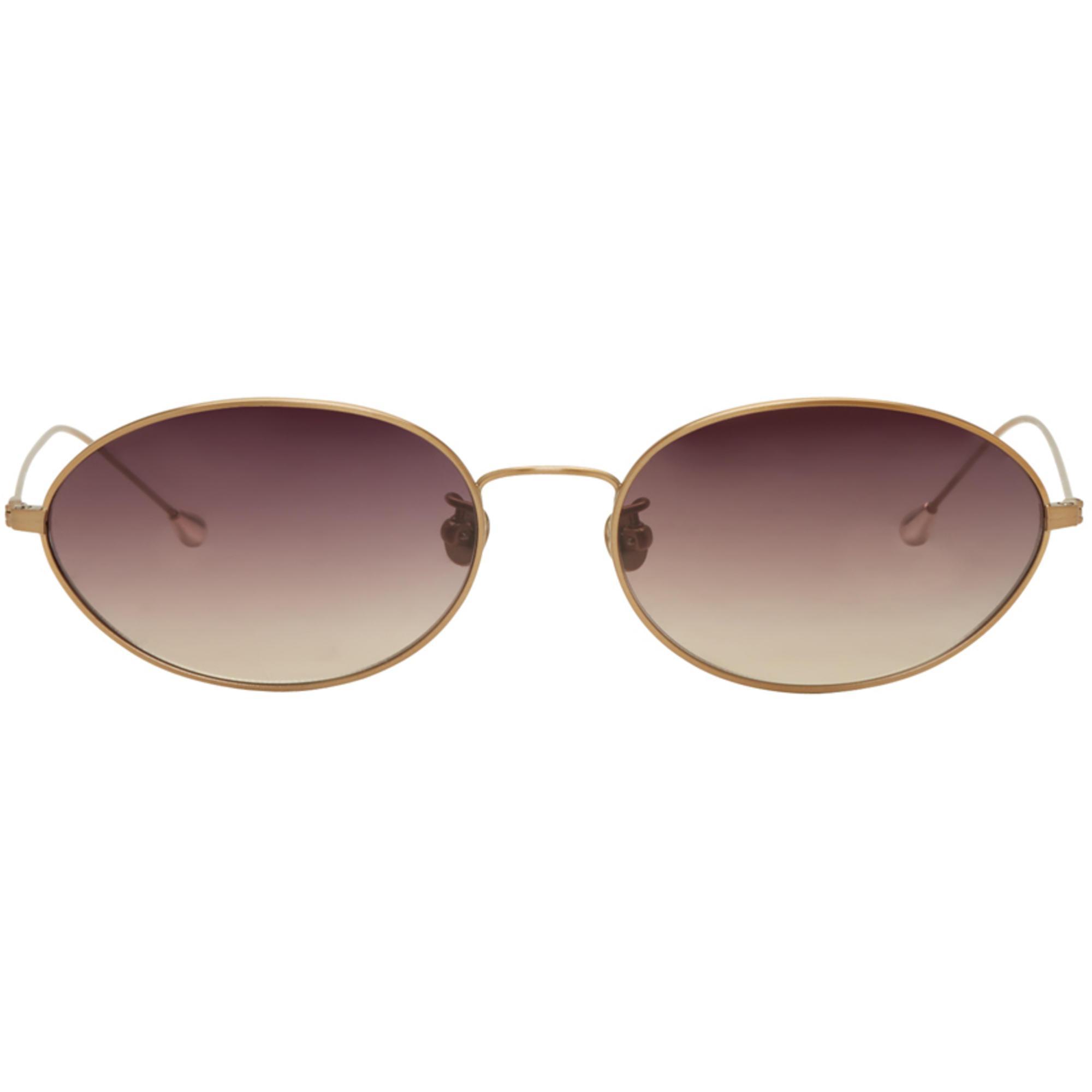 ANN DEMEULEMEESTER Black Linda Farrow Edition Oval Sunglasses UnYQ4F