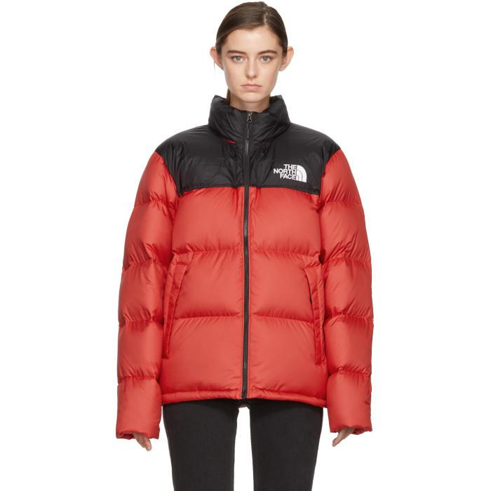 fcab5267d The North Face Red & Black Down Novelty Nuptse Jacket