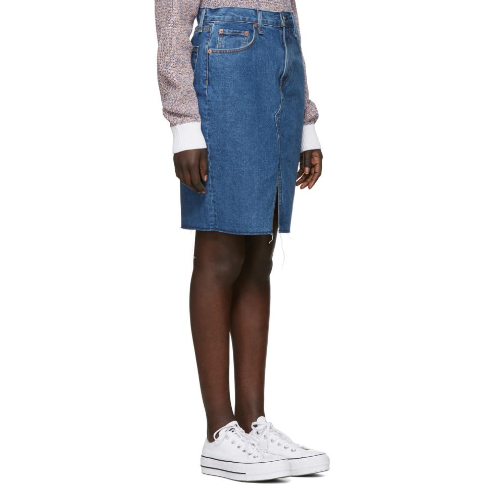 24b3138c578f Lyst - Rag   Bone Blue Denim Suji Skirt in Blue