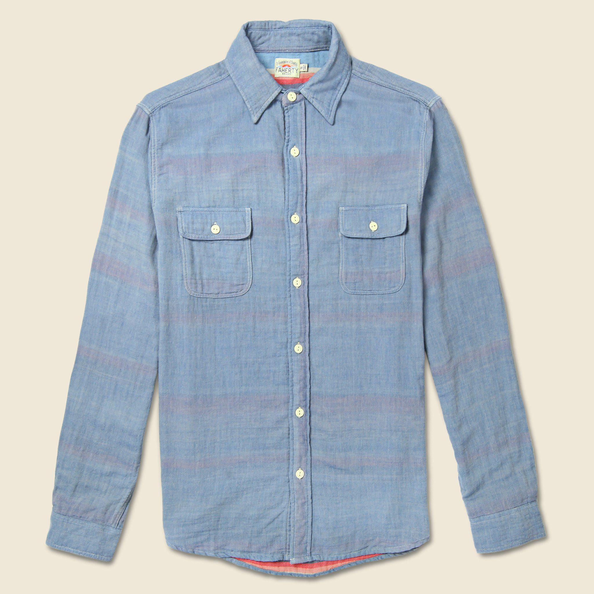 d8f325d869 Lyst - Faherty Brand Belmar Workshirt - Turquoise serape in Blue for Men
