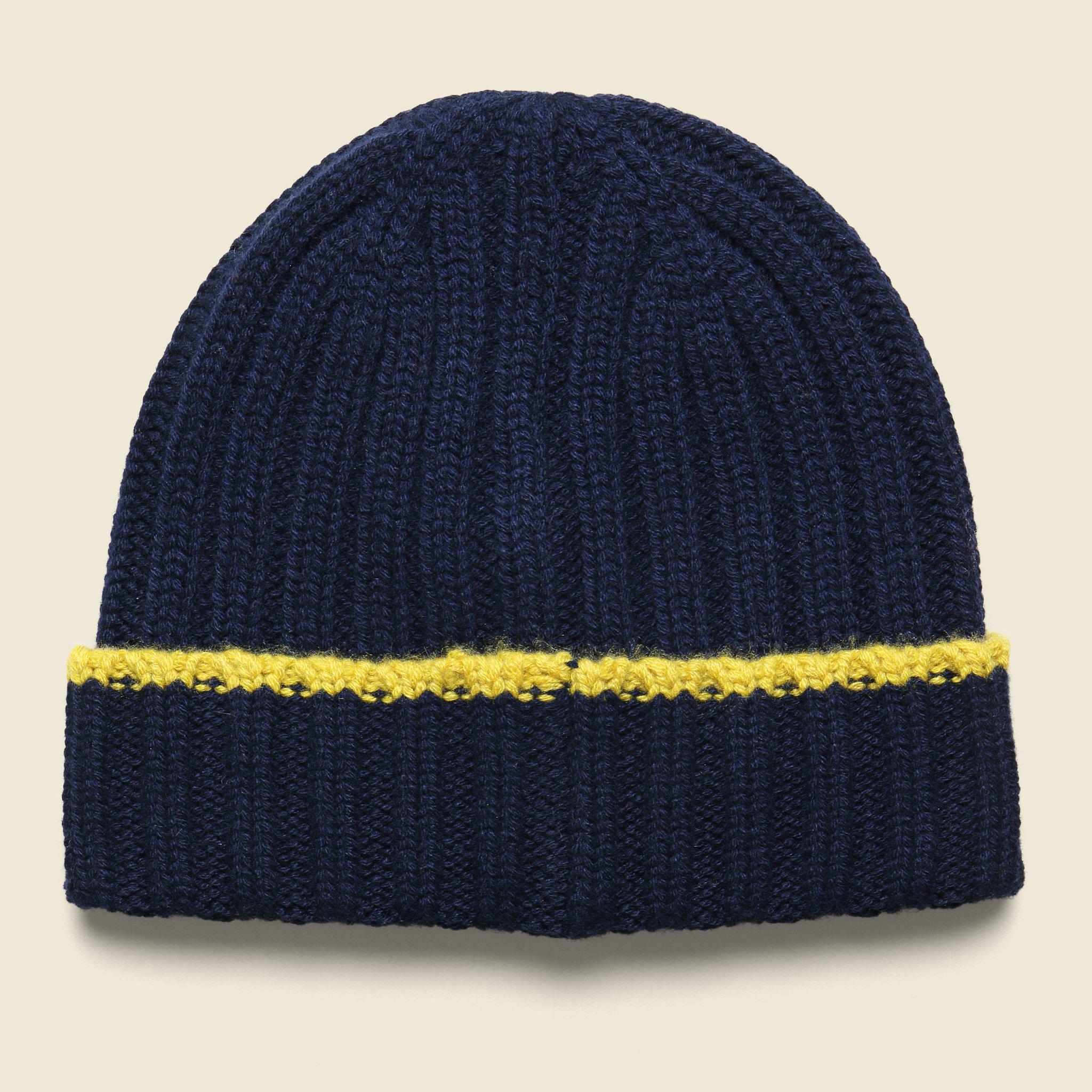 Lyst - Alex Mill Cashmere Rib Tipping Beanie - Navy yellow in Blue ... 14d39841973f