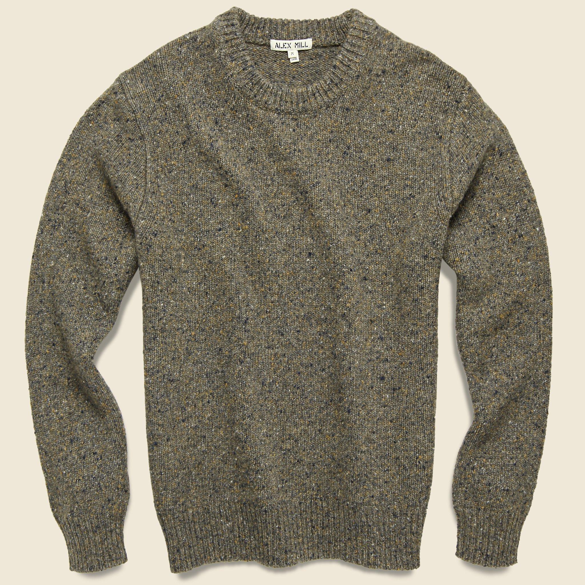 J.CREW sweater shawl neck collar merino wool nylon Donegal olive green new nwt
