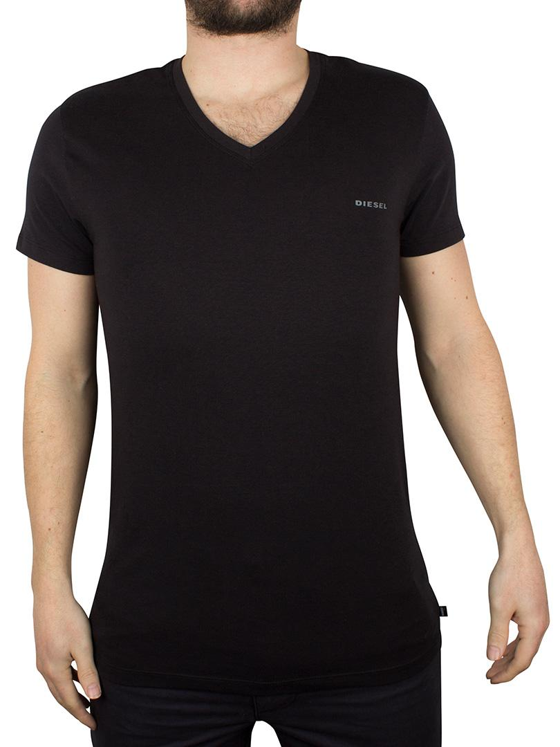 DIESEL Cotton Black V-neck Logo T-shirt for Men - Lyst