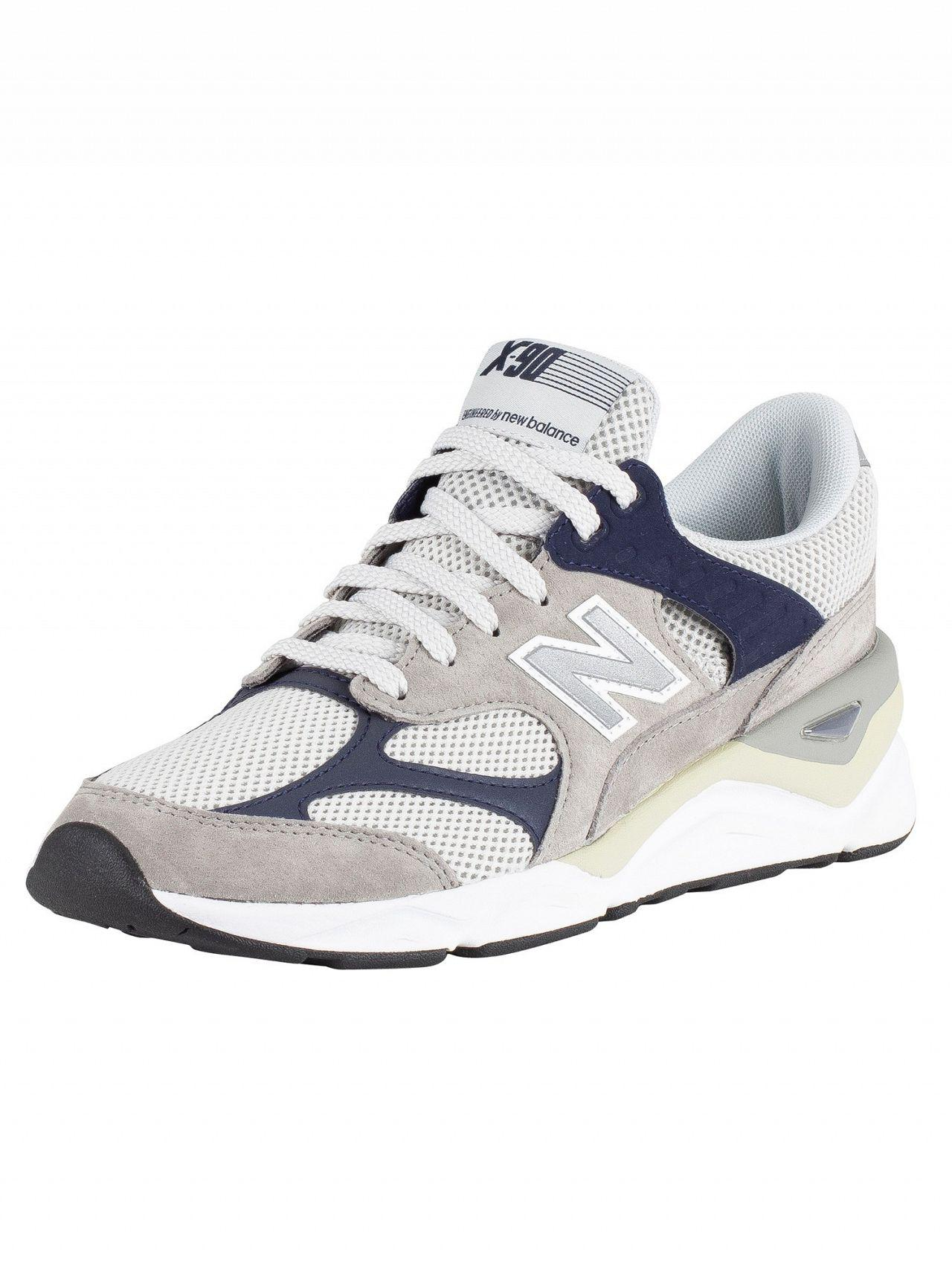 45a7893bc242 New Balance Grey/navy X-90 Suede Trainers in Gray for Men - Lyst