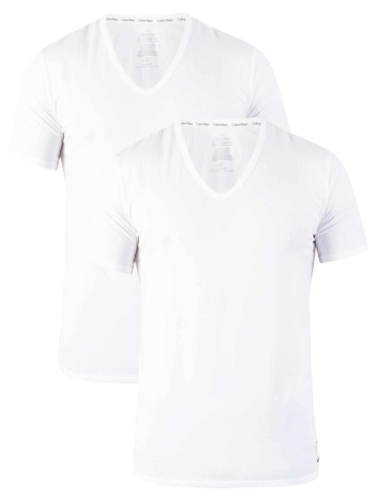 31f7dac00 Calvin Klein - White 2 Pack Id V-neck Slim T-shirts for Men. View fullscreen