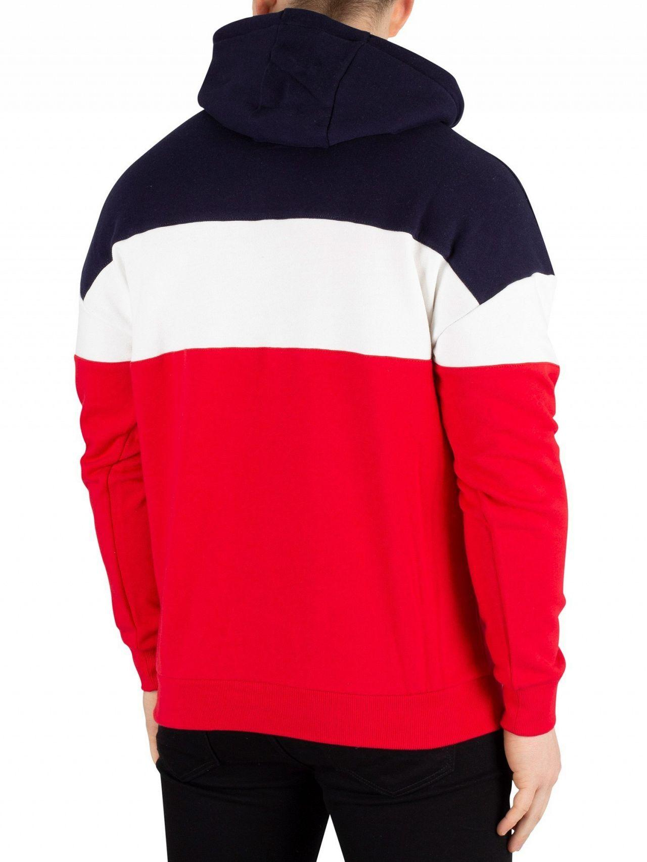 4566780ea91a Fila - Red Peacoat Rayton Colour Block Pullover Hoodie for Men - Lyst. View  fullscreen