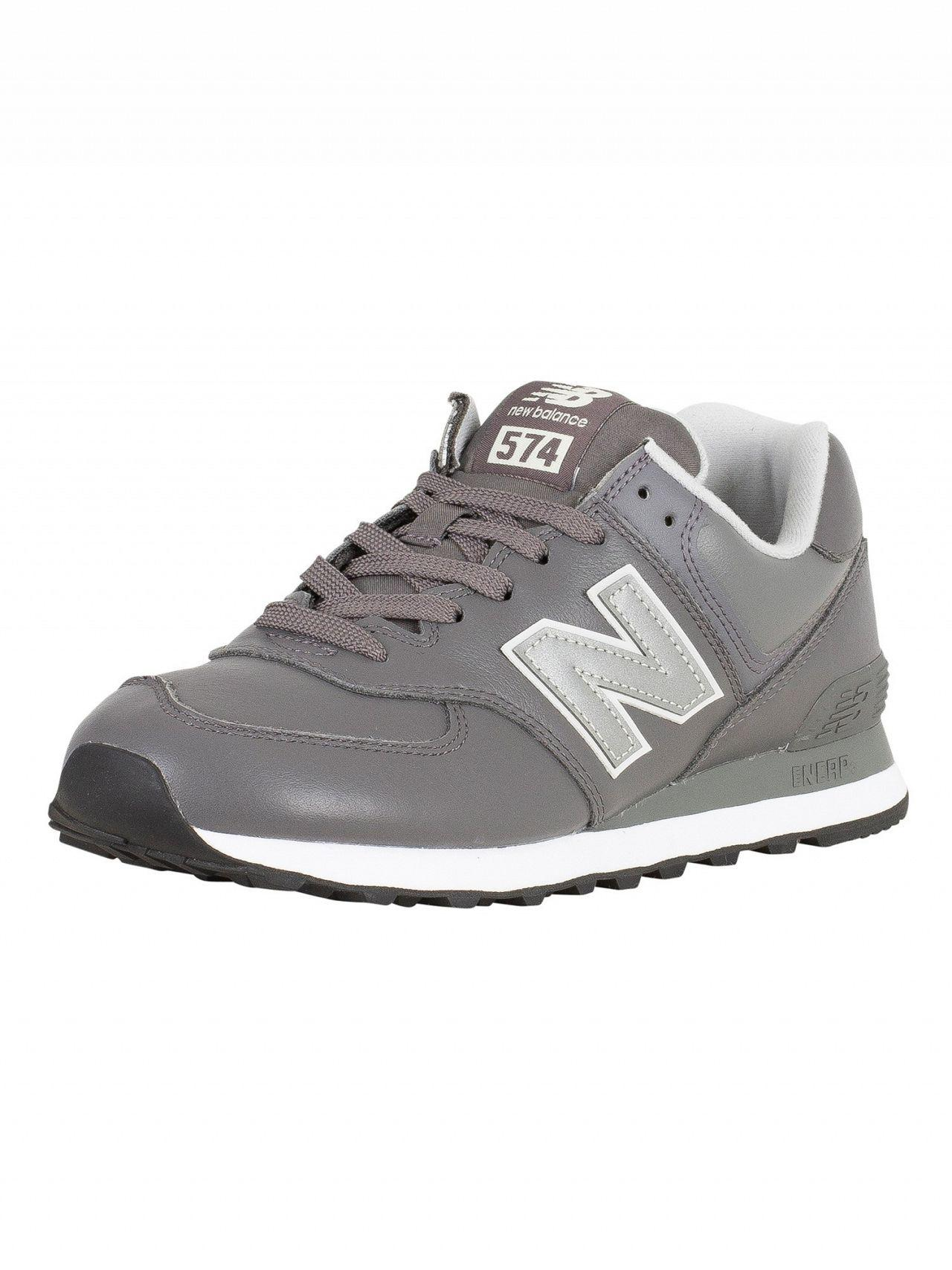 New Balance Grey 574 Leather Trainers in Gray for Men - Lyst