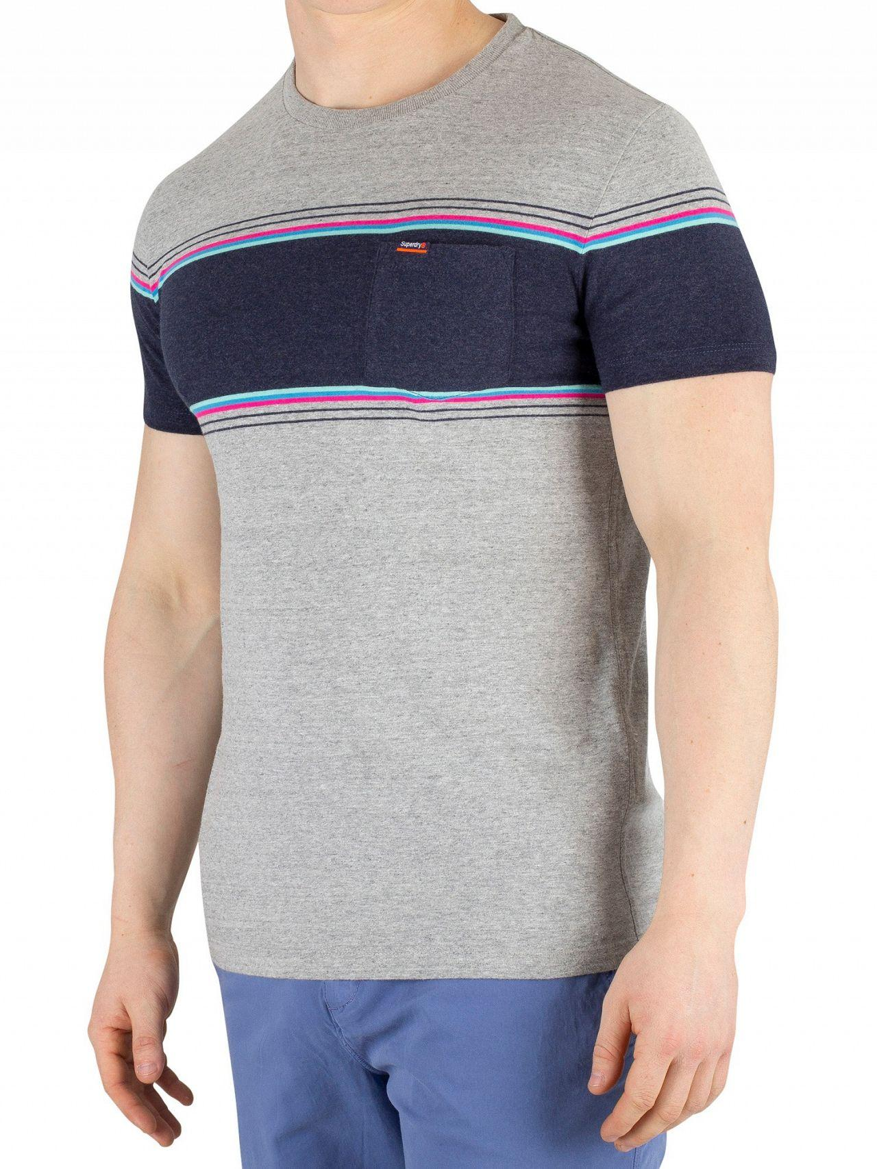 593e62a2 Superdry. Men's Mid Cali Gray Grit Orange Label Chestband Pocket T-shirt