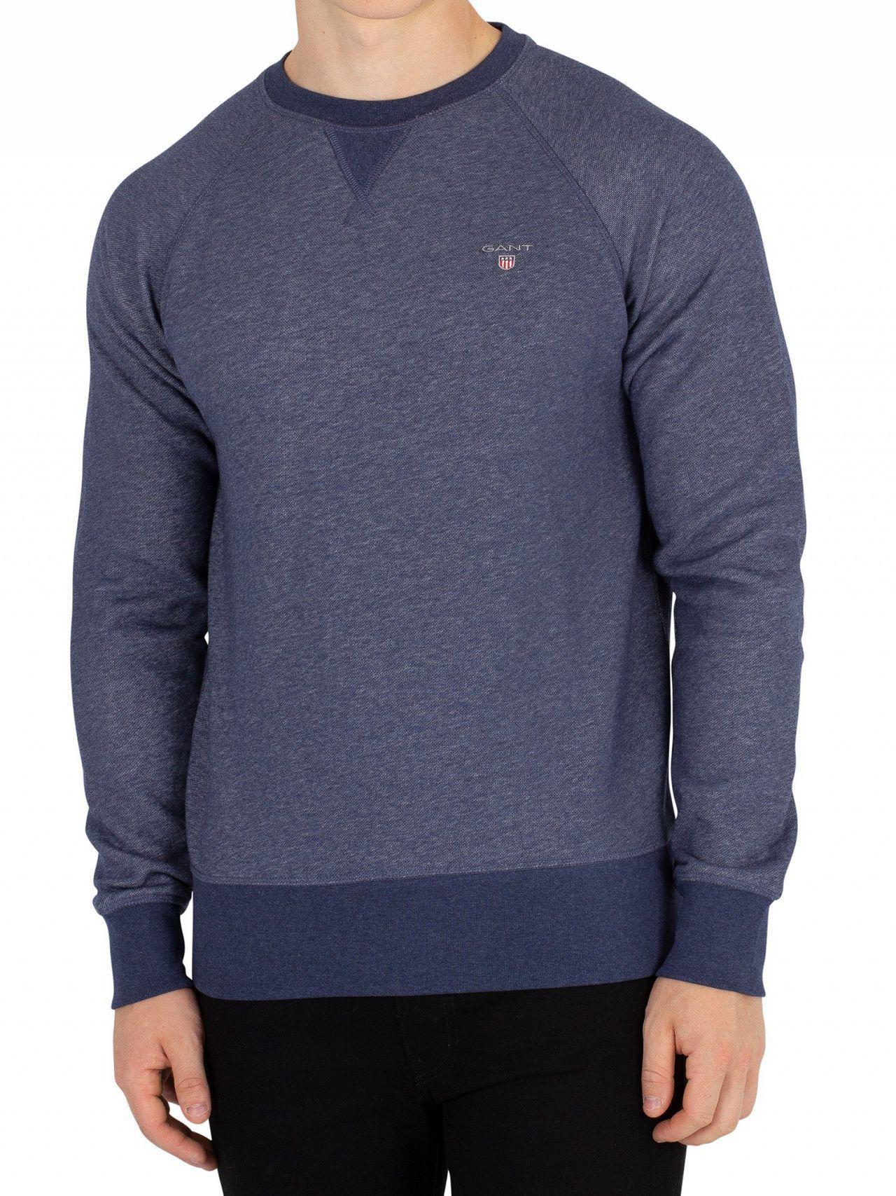 cf7db3e47b Gant - Dark Jeans Blue Melange Original Sweatshirt for Men - Lyst. View  fullscreen