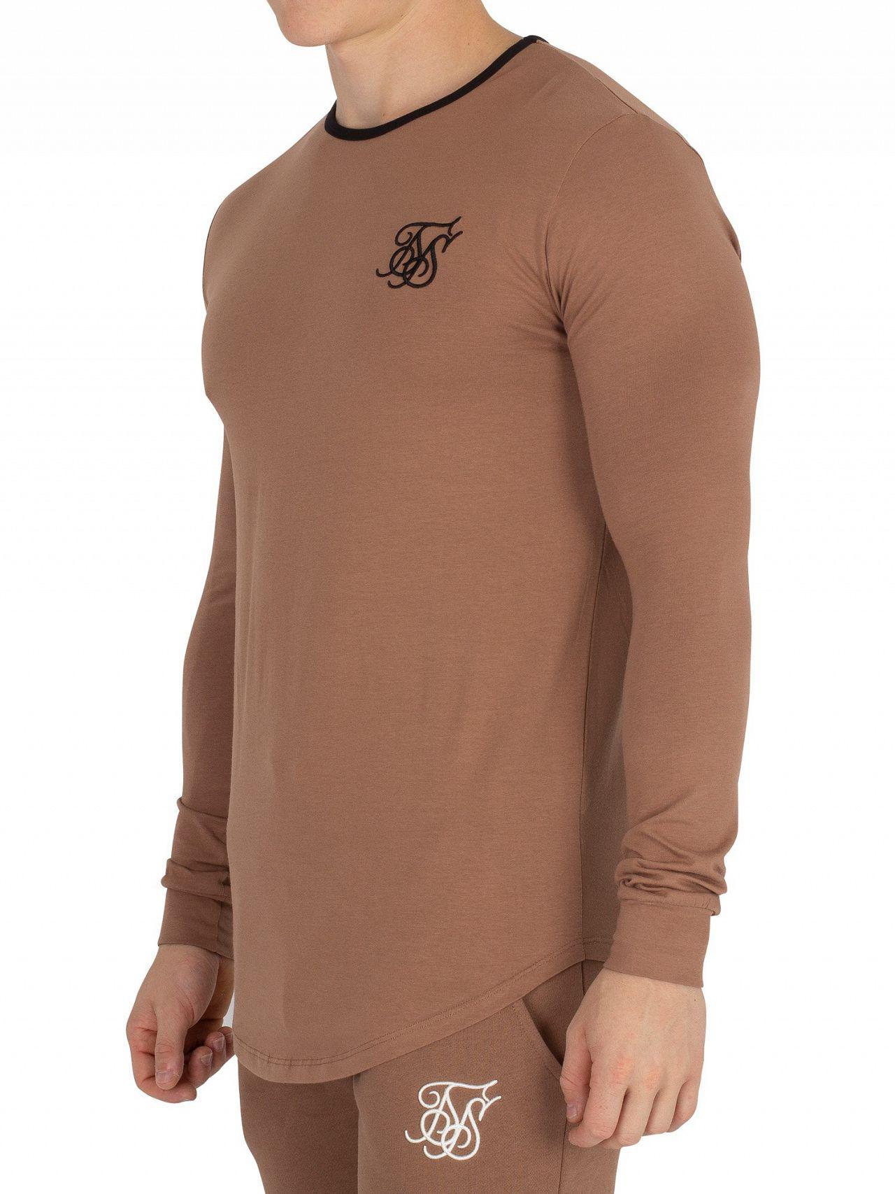 29a1268e07b4 Lyst - Sik Silk Tan Ringer Gym Longsleeved T-shirt in Brown for Men