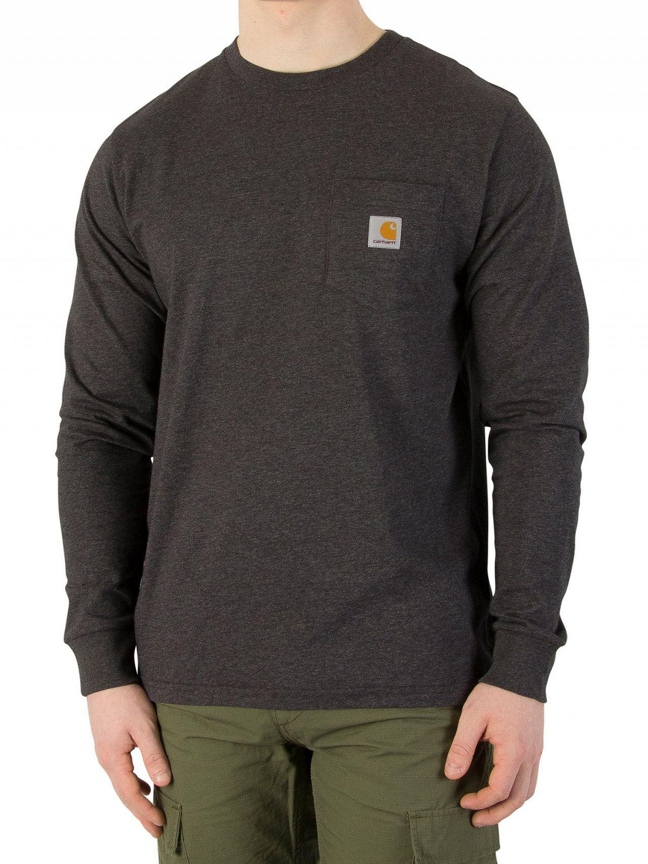 c8041159c Carhartt WIP. Men's Black Heather Longsleeved Marled Pocket Logo T-shirt