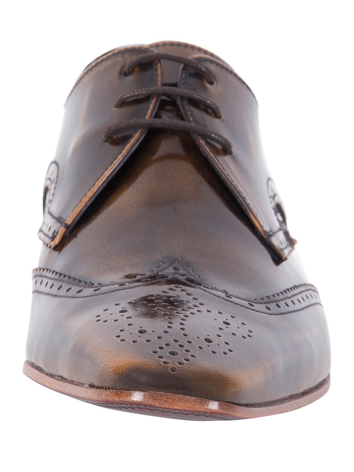 Jeffery West Leather College Camel Polished Shoes in Brown for Men
