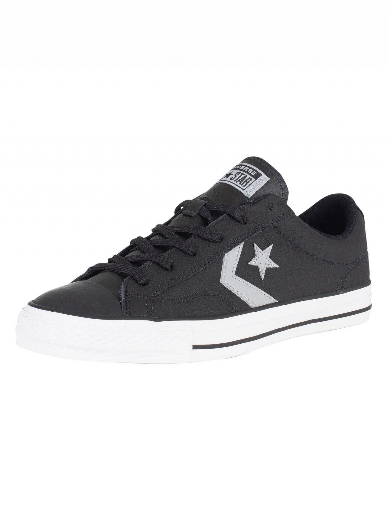 Converse Black/wolf Grey White Star Player Ox Leather Trainers - Lyst
