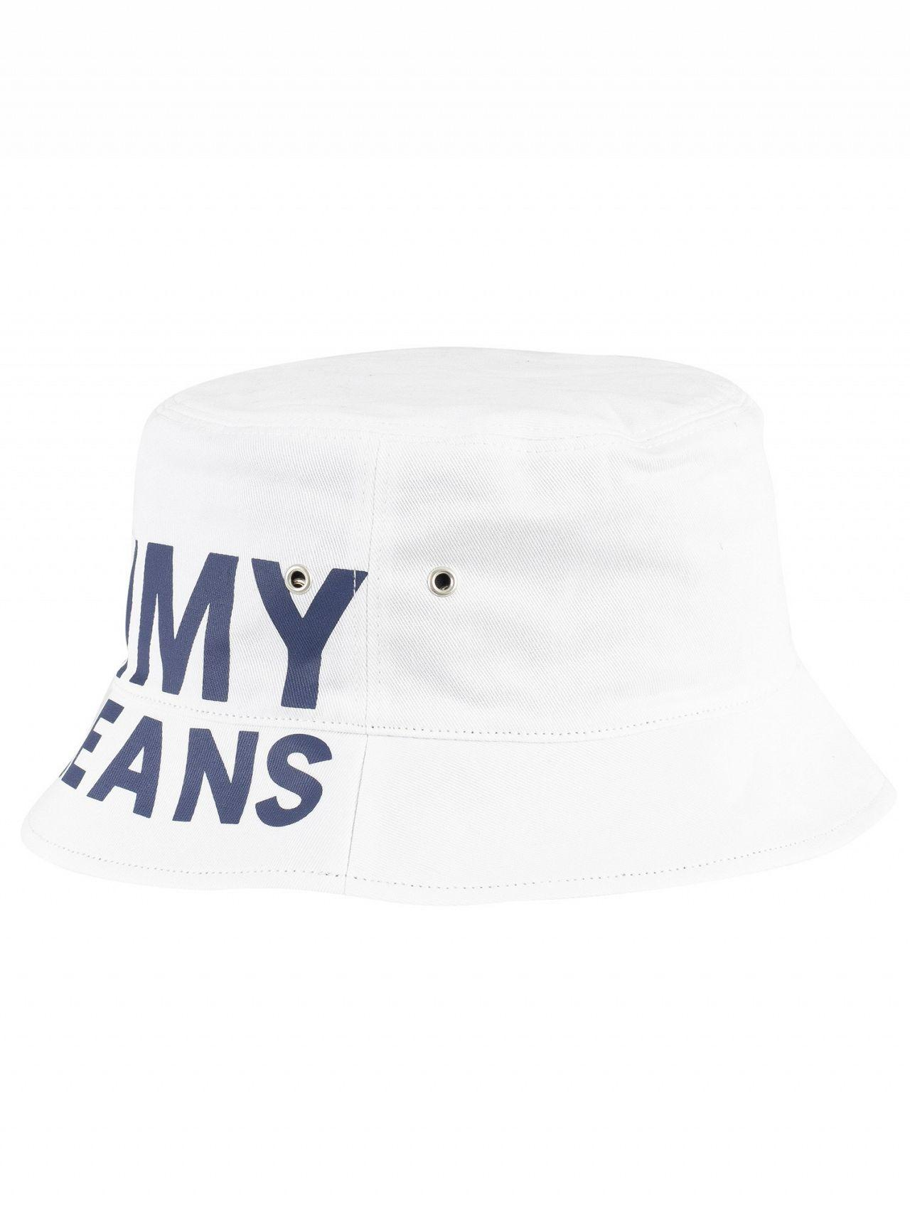 1e591b9b Tommy Hilfiger Classic White Logo Reversible Bucket Hat in White for Men -  Save 28% - Lyst